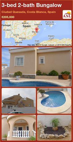 3-bed 2-bath Bungalow in Ciudad Quesada, Costa Blanca, Spain ►€205,000 #PropertyForSaleInSpain