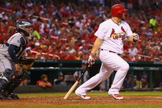Matt Adams hits a two RBI single against the Padres in the first inning. Cards won the game 4-2.  8-15-14