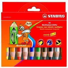 STABILO Woody  : une merveille de crayon 3 en 1. Il écrit sur tableau blanc, sur vitres, il fait crayon couleur aquarellable, craie grasse. Ne sèche pas, ne laisse aucune trace, ne sent rien, et s'efface d'un coup de chiffon humide.