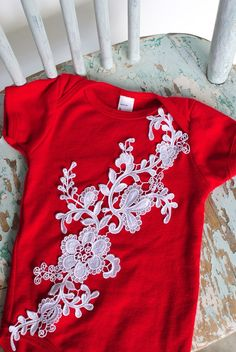 White Lace Onesie Shirt on Red for the Shabby Chic Baby by mollyannemake, Christmas Holiday Photo Prop Clothing
