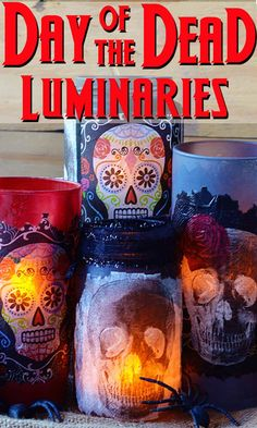 Do you love Day of the Dead crafts? Use napkins to create these unique DIY decorative luminaries! So fun for Halloween - they work as a centerpiece or to line walkways. Learn how to make them here. Holidays Halloween, Fall Halloween, Halloween Crafts, Halloween Decorations, Halloween Ideas, Halloween Lighting, Haunted Halloween, Spooky Decor, Happy Halloween