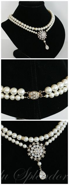 A sumptuous and classic pearl pendant necklace, handmade with lustrous Swarovski pearls.  This pearl wedding necklace has a pretty pendant which