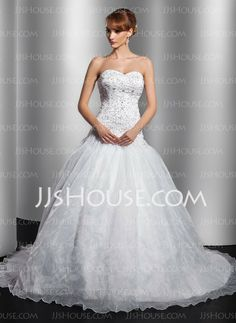 Wedding Dresses - $199.69 - Ball-Gown Sweetheart Court Train Organza Satin Wedding Dress With Embroidery Beadwork (002014762) http://jjshouse.com/Ball-Gown-Sweetheart-Court-Train-Organza-Satin-Wedding-Dress-With-Embroidery-Beadwork-002014762-g14762