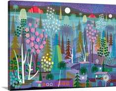 Forest and town at night with red pyramids in distance Illustration and painting. Mysterious Night Wall Art by Charles Harker from Great BIG Canvas. Wassily Kandinsky, Gustav Klimt, Claude Monet, Latin Decor, Canvas Art Prints, Canvas Wall Art, Big Canvas, Painted Window Art, Window Paint