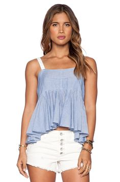 Free People Stripe Lolas Tank in Chambray Combo | REVOLVE
