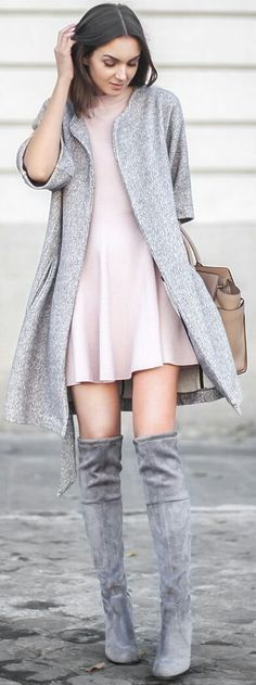 I need these boots. And the sweater. Um, and the dress lol.  #Boots #Winter #Knees #WinterOutfits