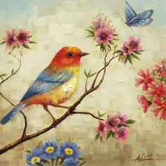 Y-Decor Observing Painting of a Bird Sitting On a Branch with Soft Colors Canvas Artwork