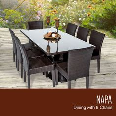 Napa Rectangular Outdoor Patio Dining Table with 8 Armless Chairs