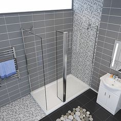 Walk In Shower Enclosure And Tray & Waste Wet Room Glass Screen Cubicle