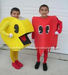 "This Homemade Ms Pac Man and Ghost Halloween Couple Costume was created for a ""80's icons"" theme party that we were invited to. My fiance suggested PacMan,"
