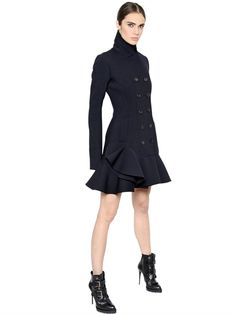 ALEXANDER MCQUEEN - RUFFLED STRETCH DOUBLE WOOL BLEND COAT - LUISAVIAROMA - LUXURY SHOPPING WORLDWIDE SHIPPING - FLORENCE