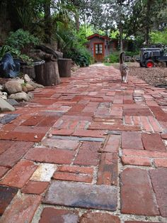 New Brick Patio Ideas for a Beautiful Backyard Design 2020 Part 8 ; brick patio with fire pit; brick patio ideas on a budget; Paving Stone Patio, Brick Pavers, Paving Stones, Wood Walkway, Brick Path, Brick Garden, Garden Stones, Garden Paths, Diy Garden