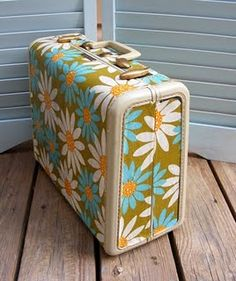 modge podge fabric onto vintage suit case (in love!)