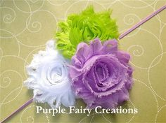Shabby Chic Flower Headband  Lavender/Lime by PurpleFairyCreations