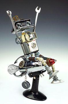 Mixed Media Sculpture, Sculpture Art, Sculptures, Metal Art Projects, Diy Projects, Metal Robot, Altered Tins, Clock Parts, Rusted Metal