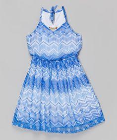Loving this Cobalt & White Chevron Short Dress on #zulily! #zulilyfinds