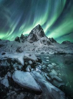 Phantom's Waltz - Dancing of Northern lights ( KP5 ) in midnight over Lofoten Island, Norway.