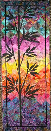 Bamboo Batik by Angela Huddart Batik Quilts, Applique Quilts, Skinny Quilts, Watercolor Quilt, Tree Quilt, Quilt Art, Landscape Art Quilts, Batik Art, Quilting Designs