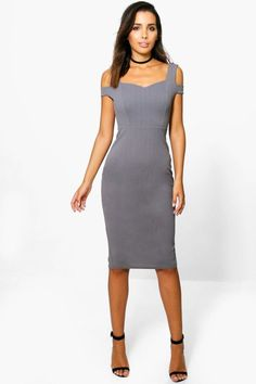 Bardot Strap Cut Out Midi Dress. | dresslover.co.uk