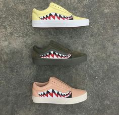 bape x vans old skool shark tooth custom