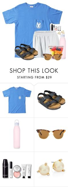 """""""Road trip to Ocala for VBS"""" by flroasburn ❤ liked on Polyvore featuring OBEY Clothing, NIKE, Birkenstock, Ray-Ban, Bobbi Brown Cosmetics and Kate Spade"""