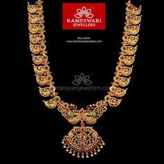 Buy Necklaces Online | Heritage Peacock in Mango! from Kameswari Jewellers