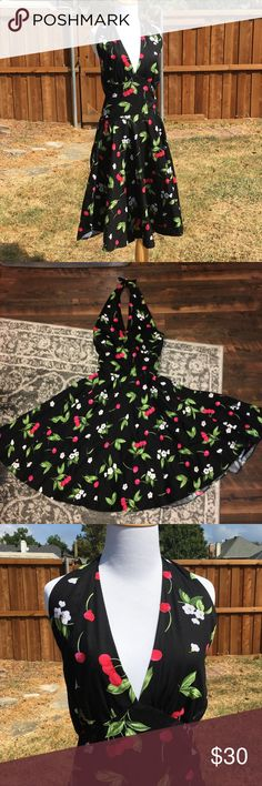 """Maggie Tang VLV Rockabilly Halter cherry dress XXL Bust 16"""", waist 13"""", length 45"""". Back is smocked so there is some stretch! Has side Zipper maggie tang Dresses"""