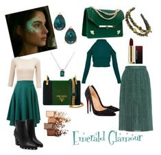 Emerald Glamour by ana-zigne on Polyvore featuring polyvore fashion style Miss Selfridge MARCOBOLOGNA Christian Louboutin Angela Valentine Handbags Prada Kate Spade Maybelline Kevyn Aucoin clothing emeraldgreen