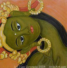 Green Tara Tara Goddess, Thangka Painting, Green Tara, Buddhist Art, Deities, Online Art Gallery, Drawing S, Art Images, Original Art