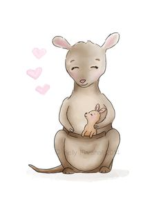 Kangaroo Baby Nursery - Baby and Mommy - Australian Nursery - Kangaroo Wall Art... Childrens Art Prints - Sweet Cheeks Images $12.00