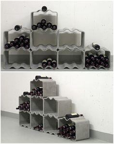 Estantería modular de cemento para vino - Modular cement wine rack