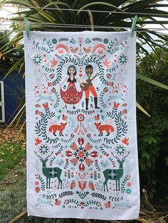 100% Cotton Woodland Gypsies Tea Towels in a Folk Art Style