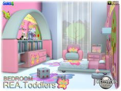 Created By jomsims Rea toddlers bedroom Created for: The Sims 4 bed. misc deco dresser with deco. Diy Kids Furniture, Sims 4 Cc Furniture, Bedroom Furniture, Furniture Sets, Sims 4 Children, 4 Kids, Toddler Bedroom Sets, Sims 4 Beds, Sims 4 Bedroom