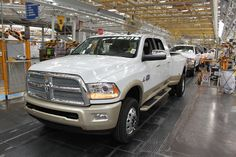 The first 2016 Ram 3500 Heavy Duty with a ground-stomping, best-in-class 900 lb.-ft. of torque rolls off the line at FCA's Saltillo Truck Assembly Plant. Of course it's a Mega Cab Laramie Longhorn.