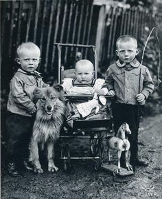 "August Sander: Farm Children: 1920 "" On a muddy roadside that reveals evidence of recent rain stand three children from a farming family with their dog and a toy horse. August Sander captured the familial relationship by focusing on the similarities. Vintage Children Photos, Vintage Pictures, Old Pictures, Vintage Images, August Sander, Eugene Atget, Old Photography, Getty Museum, Vintage Dog"