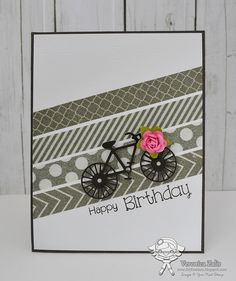 handmade birthday card by Veronica Zalis ,,, gray and white washi tape stripes placed diagonally ,,, die cut bike heading up hill ... like the cute font in the sentiment ,,,