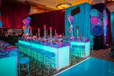 Photo by Kehoe Designs. Bar Mitzvah Party, Bat Mitzvah, Event Decor, Event Ideas, Birthday Candles, Floral, Beautiful, Colorful, Design