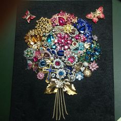Framed Vintage Costume Jewelry Art Flower Bouquet Shadowbox with Glass Cover