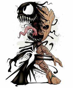 """992 curtidas, 6 comentários - Dragão Geek (@dragaogeek) no Instagram: """"Imagine que sinistro! O pequeno Groot do capeta!  Venom Groot -_-_-_-_-_-_-_-_-_-_-_-_-_-…"""""""