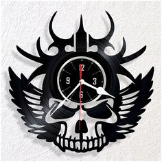 Vinyl wall clock Skull Vinyl Record Art, Vinyl Records, Old Records, Dremel, Lps, Clocks, Repurposed, Old Things, Tower