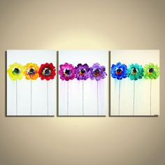Original Multicolored Modern Rainbow Flowers in a row Palette Knife Acrylic Abstract Painting on Canvas. $280.00, via Etsy.