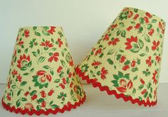 A 1950's vintage fabric candle lampshade 11 x 13 cm / 4.3