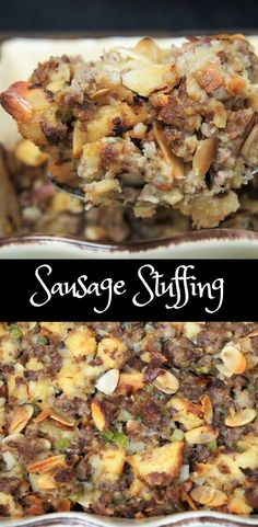 This is my favorite stuffing; it's my mom's recipe. She would make it every Thanksgiving. Once a year, that's it. So fill up while you can, and boy did I ever! It's really simple to make, flavorful sausage, toasted almonds, some veggies and bread. We don't stuff the turkey, instead we make the stuffing in a casserole dish and serve it as a side dish.
