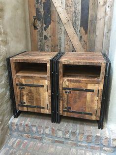 Stoer houten industriele landelijke kastjes kastje halkastje nachtkastje hout metaal industrieel bijzet kast nachtkastje