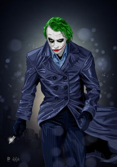 I was always more intrigued by the Joker's serious side. I never was a fan of the skinny, funny type portrayed in most of the classic are comics. The Joker (Heath Ledger Tribute) Le Joker Batman, Batman Joker Wallpaper, Batman Y Robin, Heath Ledger Joker, Joker Wallpapers, Joker Art, Gotham Batman, Batman Art, Iphone Wallpapers