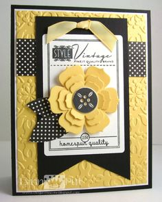 Supplies: PTI Button Boutique + BB dies, Chip board for button, Beautiful Blooms II flower dies, Sending You leaf die, Ribbon, SU E-Folder: Vintage Wallpaper, Making Memories dp. Colors: Basic Black, Daffodil Delight.