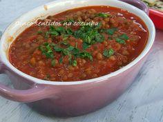 Cinco sentidos na cozinha: Lentilhas em molho de tomate