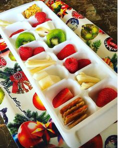 Make eating healthy snacks fun by putting them in an ice cube tray. | 25 Parenting Hacks On Instagram That Are Borderline Genius