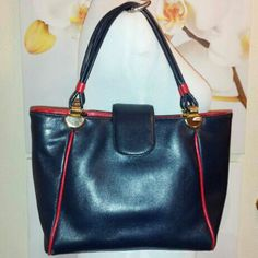 Leather Navy Blue Red Trim Handbag Purse