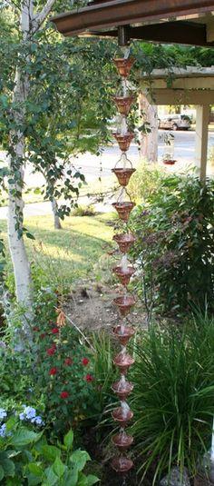 Rain chains - buy direct at discounted prices rainchain, rainchains, downspouts Gnome Garden, Garden Art, Garden Crafts, Dream Garden, Rainwater Collection Tanks, Rain Barrel, Garden Landscaping, Landscaping Ideas, Outdoor Gardens